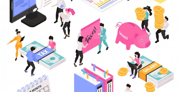 isometric accounting set conceptual images with little people characters various workspace objects items vector illustration 1284 30657